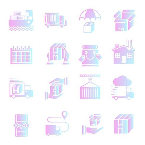 Conjunto de iconos de gradiente de entrega