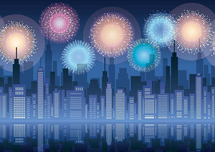 Seamless cityscape with skyscrapers and fireworks.