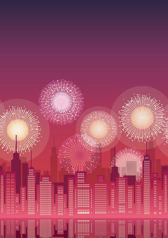 Paesaggio urbano senza soluzione di continuità con grattacieli e fuochi d'artificio.