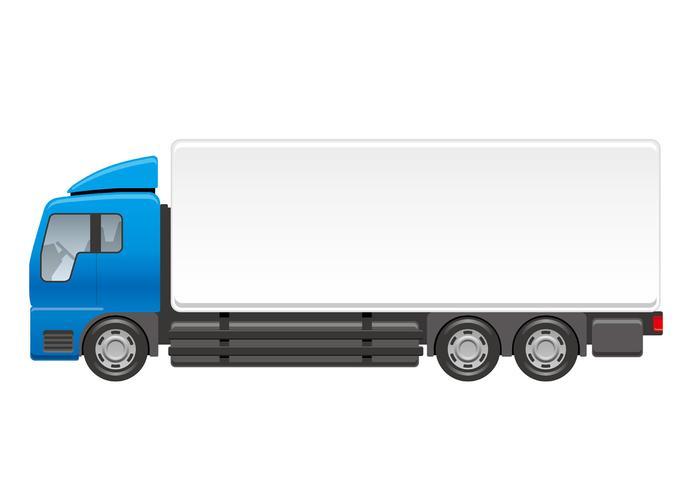 Zware vrachtwagenillustratie die op een witte achtergrond wordt geïsoleerd.