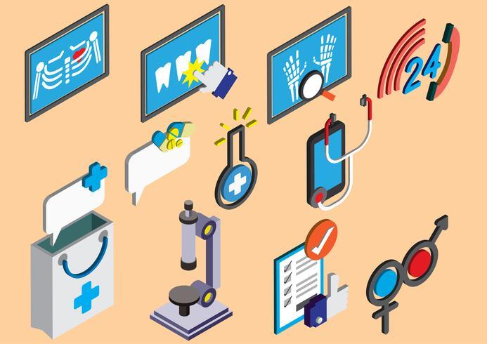 Ilustración de conjunto de iconos de información gráfica hospital concepto