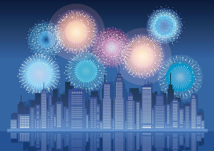 Cityscape with skyscrapers and fireworks.