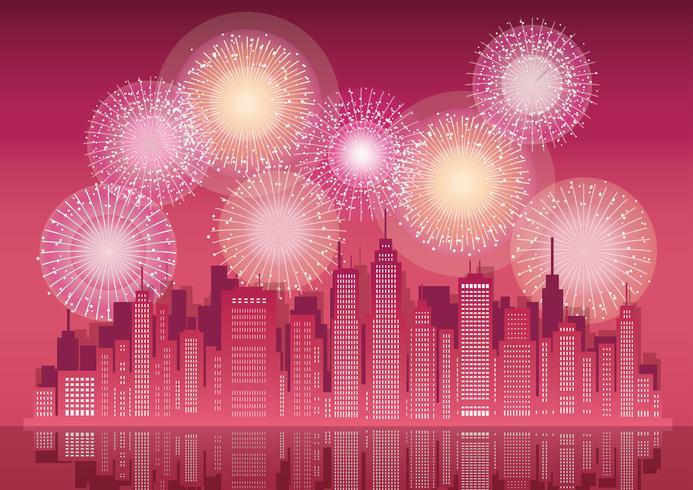 Cityscape met wolkenkrabbers en vuurwerk.
