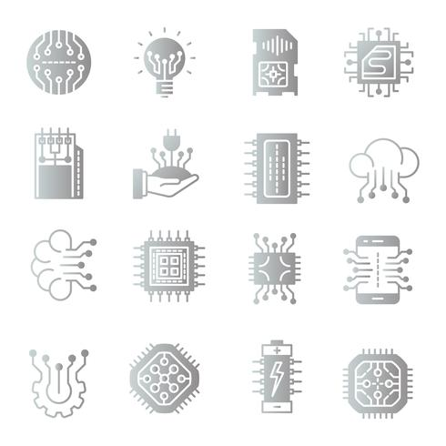 Elektronik gradient ikoner uppsättning