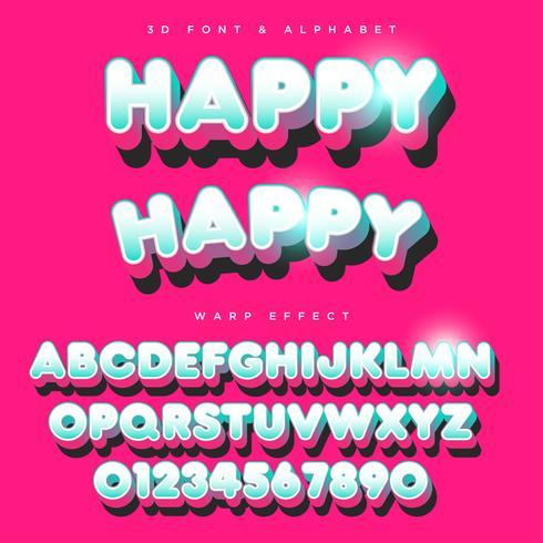 3D rundad stiliserad text, teckensnitt och alfabet