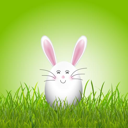 Cute easter egg bunny in grass  vector
