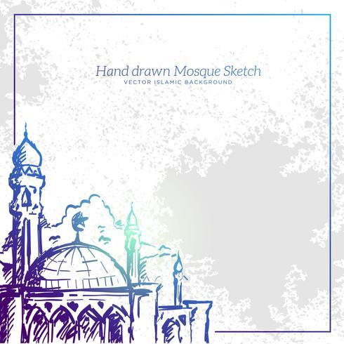 Mão desenhada Mesquita Sketch Ilustração. Vector Grunge fundo islâmico