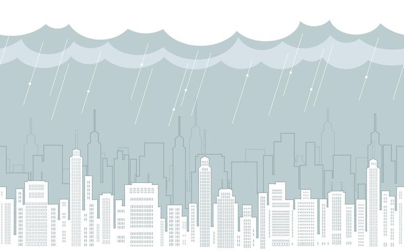 Naadloze cityscape tekening met wolkenkrabbers.