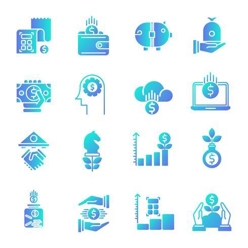 Finanzas gradiente conjunto de iconos