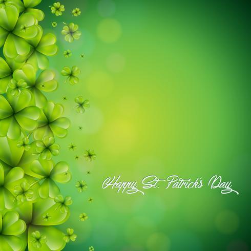 Saint Patricks Day achtergrondontwerp met dalende klavers blad achtergrond. vector