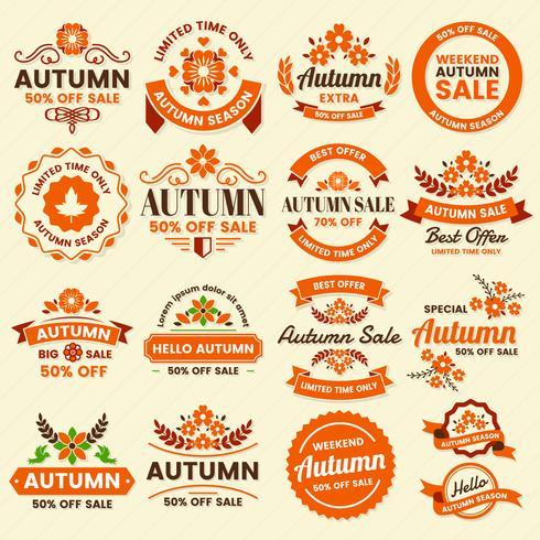 Logotipo de vetor Vintage rótulo de outono para banner