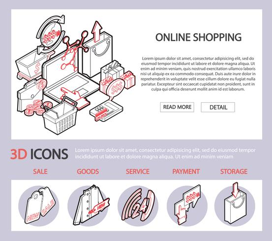 illustration of info graphic online shopping set concept vector