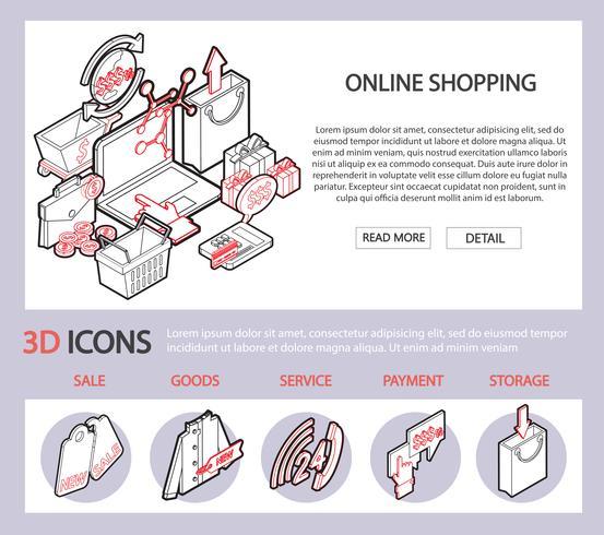 illustrazione del concetto di set shopping online grafico informazioni vettore
