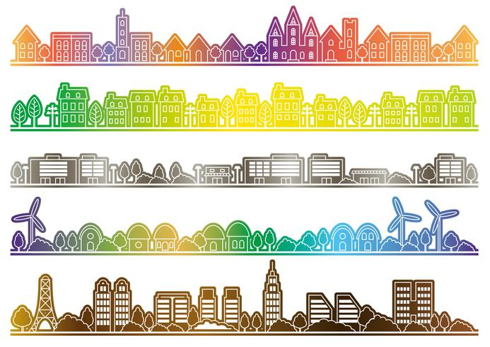Simple townscape set, vector illustration.