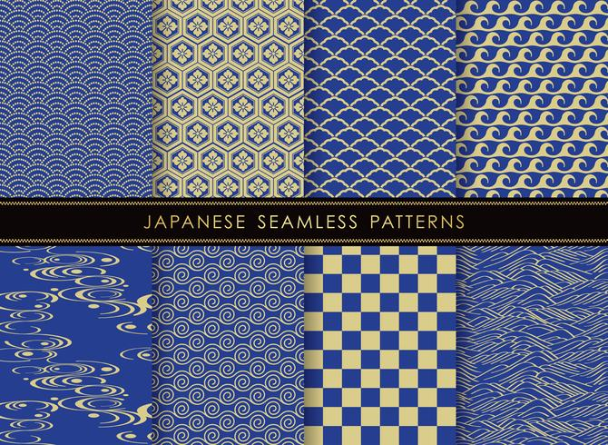 Conjunto de patrones tradicionales japoneses, sin costura.