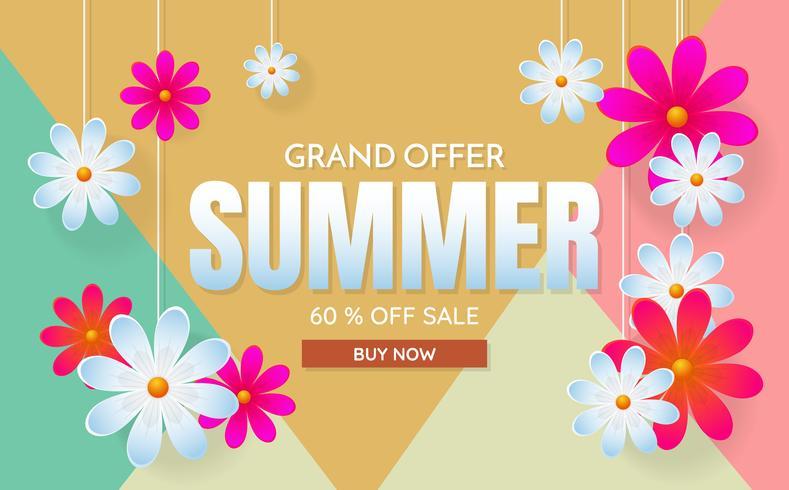 verano venta plantilla banner vector fondo