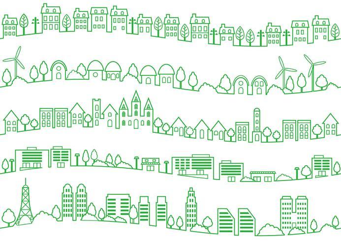 sömlös townscape line drawing set.