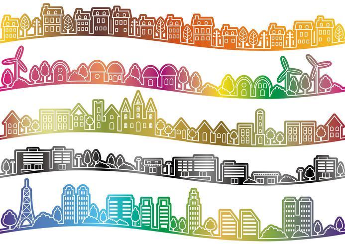 Paysage urbain sans soudure ensemble, illustration vectorielle.