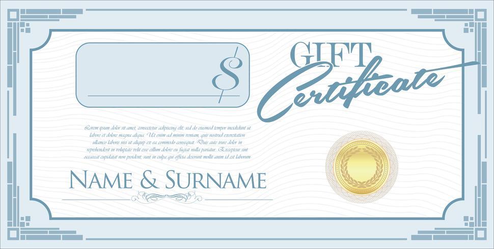 Certificado de regalo vector