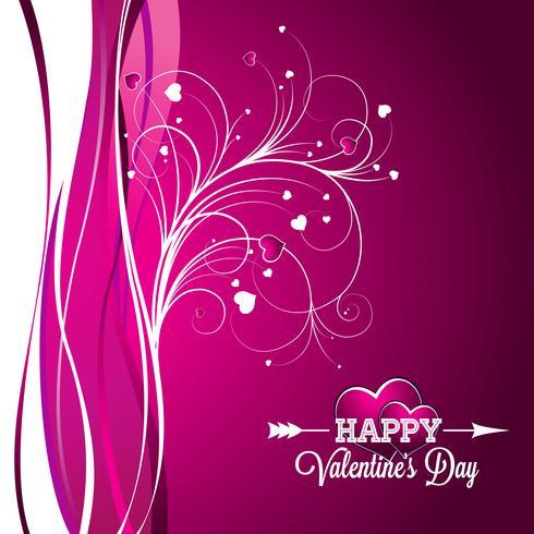 Vector l'illustrazione del giorno di biglietti di S. Valentino con progettazione di tipografia su fondo viola.