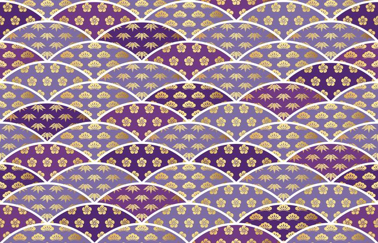 Traditionally auspicious Japanese pattern with pine, bamboo, and plum. vector