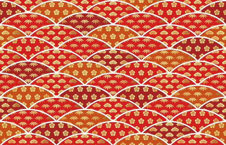 Traditionally auspicious Japanese pattern with pine, bamboo, and plum.