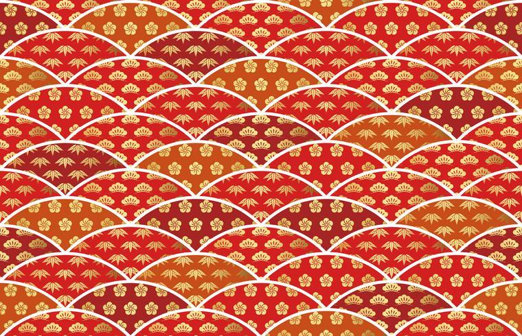 Traditionell günstiges japanisches Muster mit Kiefer, Bambus und Pflaume.