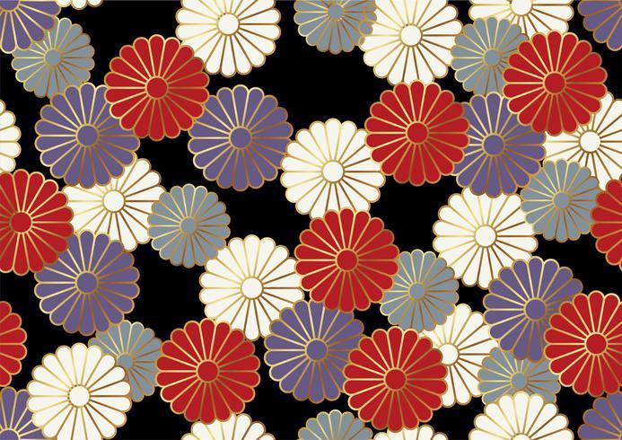Nahtloses Chrysanthemenmuster im japanischen Trachtenstil.