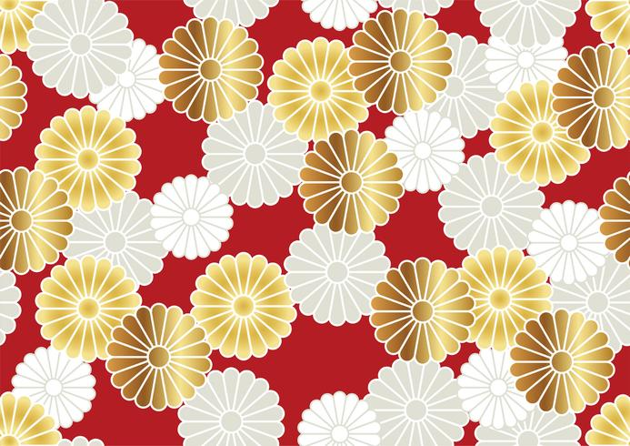 Seamless chrysanthemum pattern in the Japanese traditional style. vector