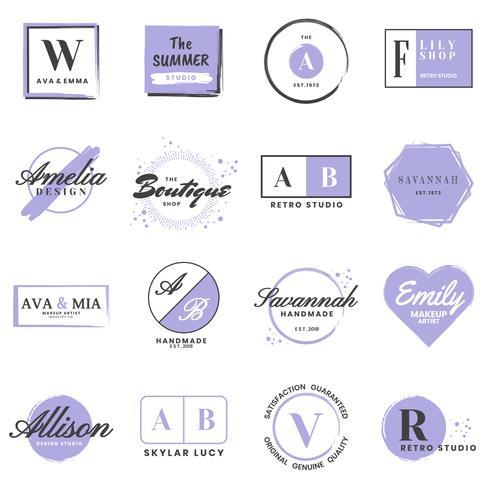 Logo retro vintage femenino para banner vector