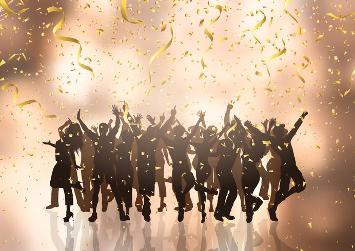 Multidão de festa em fundo de confete e serpentinas