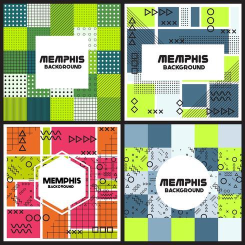 Memphis achtergrond stijl ontwerpsjabloon vector
