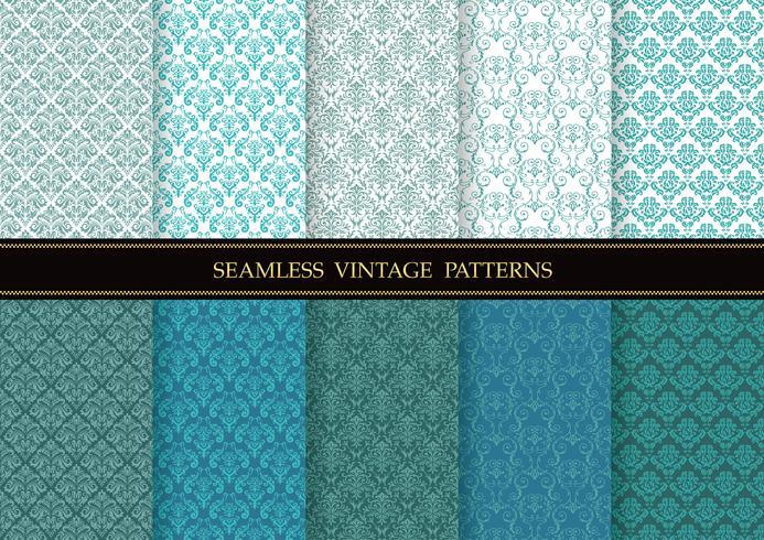Conjunto de patrones sin fisuras vintage damasco
