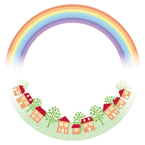 Circle frame with the rainbow and townscape.