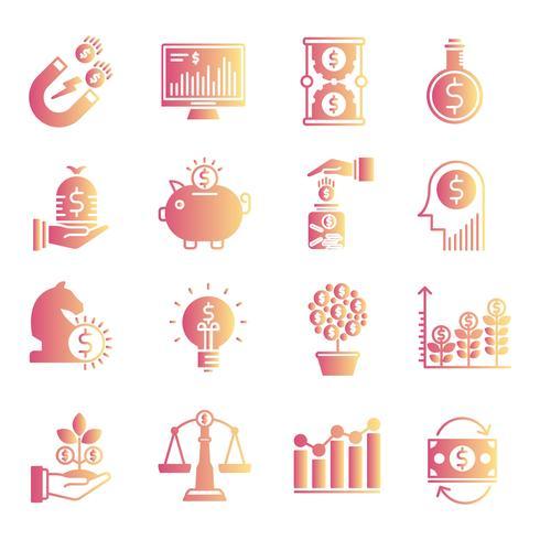 Inställningar för investeringsgradient ikoner