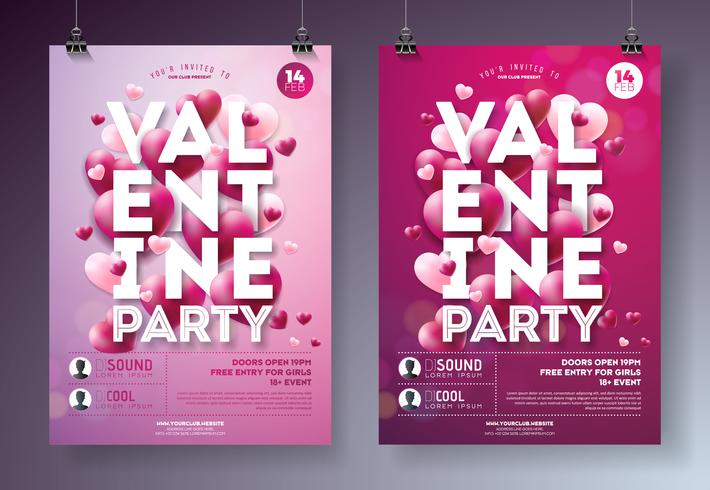 Valentines Day Party Flyer Illustration