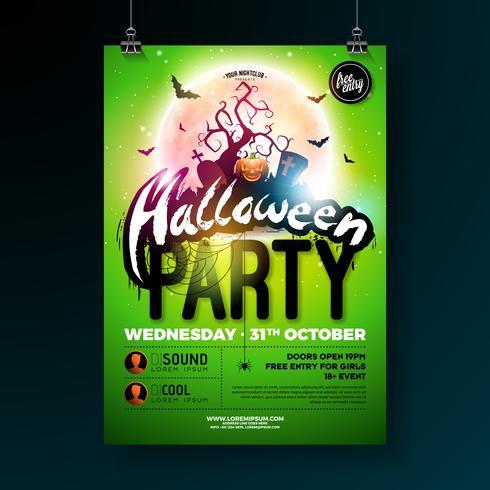 Ilustración de vector de Halloween fiesta flyer