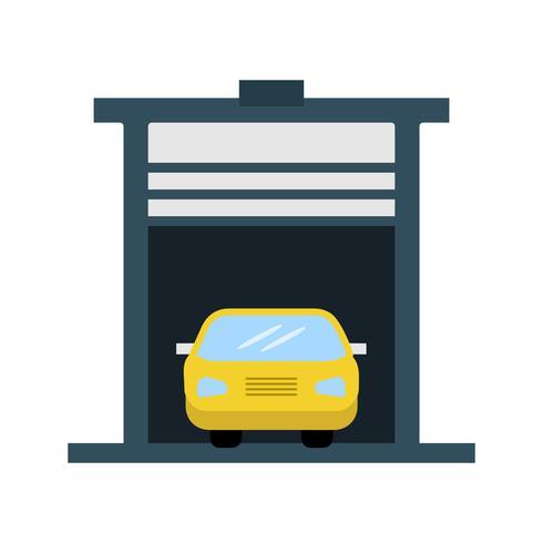 Auto in der flachen multi Farbikone der Garage