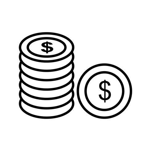 Coins line black icon