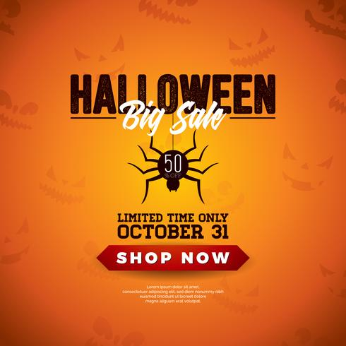 Halloween Sale vector illustration with spider