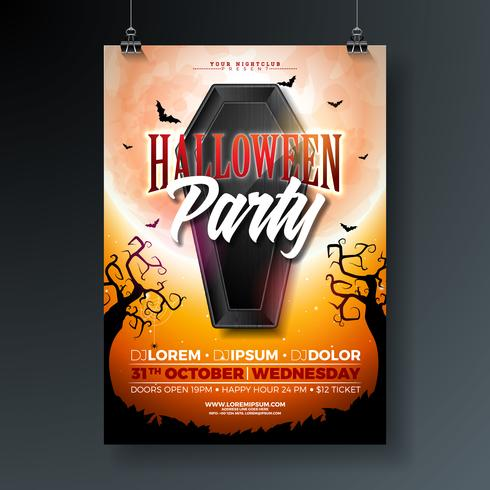 Halloween Party flyer illustration with black coffin