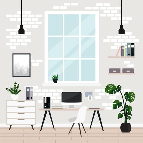 Vector illustration of modern workplace, cabinet, room in flat style.