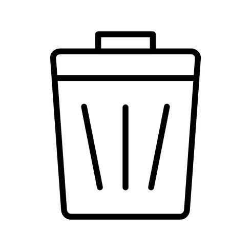 Icono de línea de basura negro