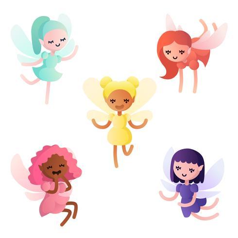 Colorful cartoon little fairies