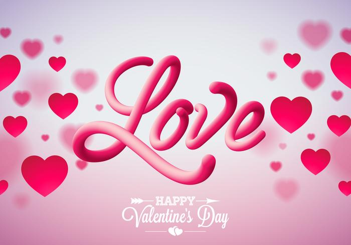 Design Saint Valentin avec coeurs rouges et amour