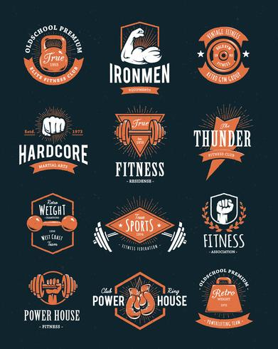 Emblemas de fitness retrô