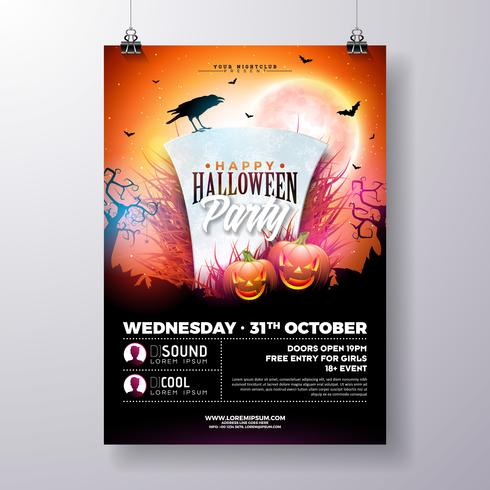 Halloween party flyer illustration vektor