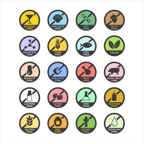 Allergen icons set. vector