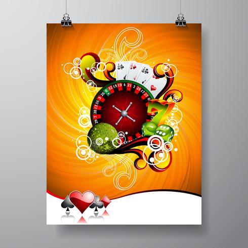 Vector Party Flyer design su un tema di Casino