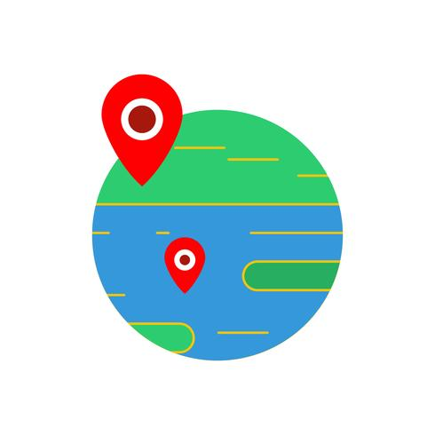 Location on earth flat multi color icon